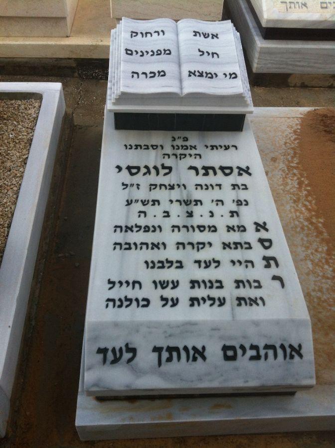 נוסח מצבה על מצבת שיש גרניט בירושלים