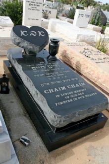 מצבות מעוצבות של שגב מצבות עם שיש גרניט שחור בשילוב אבן חברון
