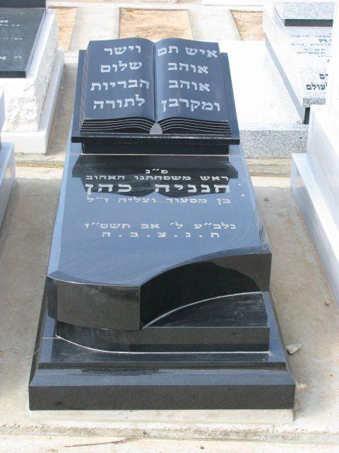מצבה משיש שחור בחיפה עם כיתוב בהיר